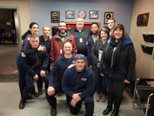 President Pat Thompson on the set of Chicago Fire.