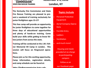 Registration is now open for the 2018 Fall Junior Firefighter Camp!