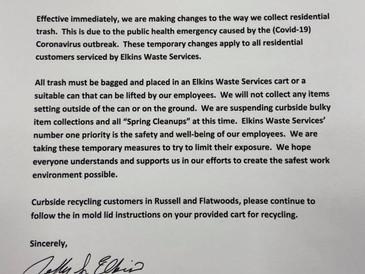 ELKINS Waste Service Announcement