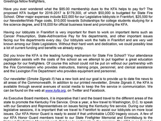 Letter from KFA President Billy Selvage