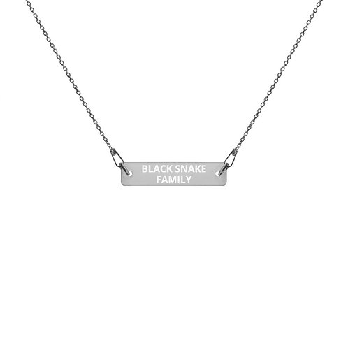 """Engraved Silver Bar Chain Necklace """"BLACK SNAKE FAMILY"""""""