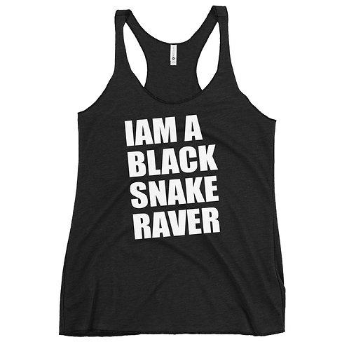 "Woman Racerback Tank-Top / ""Iam a Black Snake Raver"" / Black"