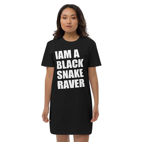 "Organic cotton t-shirt dress ""Iam a Black Snake Raver"" black"
