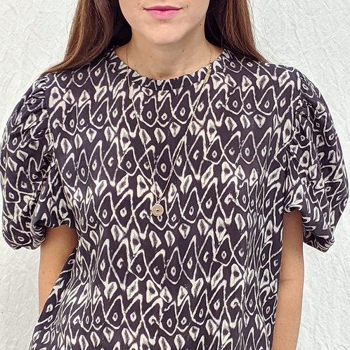 Top manche bouffante en soie noir à motif géometrique blanc Valence