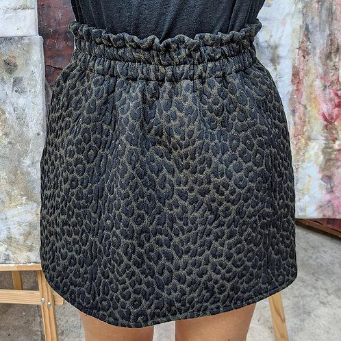 Jupe courte Anaco imprimé léopard kaki