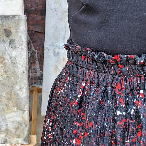 Jupe courte imprimé graphique noir et rouge en coton et soie Barinas