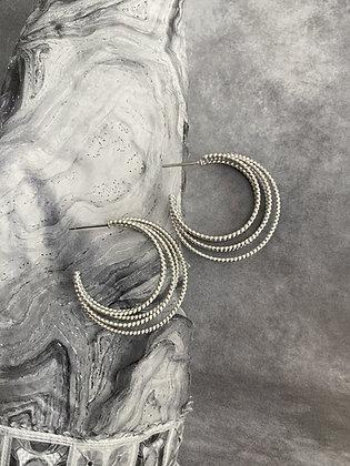 Lilio Earrings - Multiple Hoop - Silver