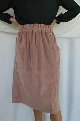 Jaclyn M Sloane Cord Skirt Dusky Pink