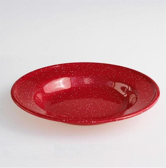 Red Enamel Soup Plate