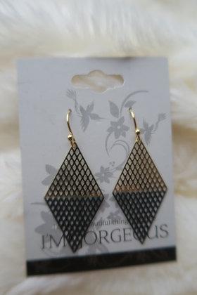 I'm Gorgeous - Luna Triangle Earrings - Gold & Black