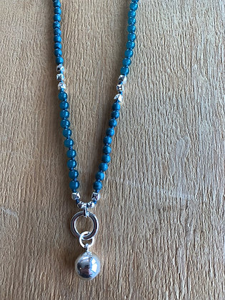 Im Gorgeous - Teal Blue Silver Ball Necklace
