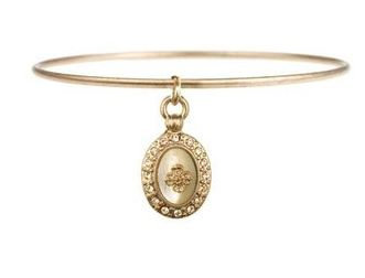 Four Corners Rose Gold Bangle with Charm
