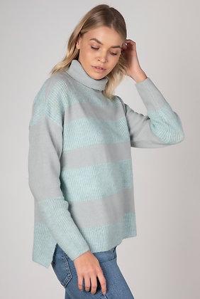 Zaket & Plover Stripe Knit Pullover Mist Combo