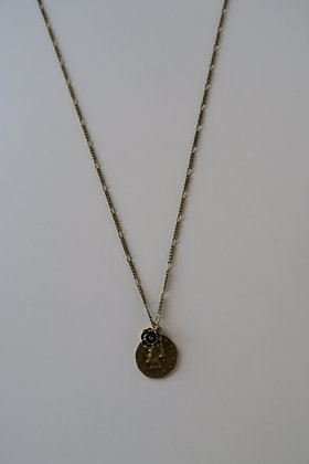 Four Corners Basics - Coin and Rose Necklace - Bronze