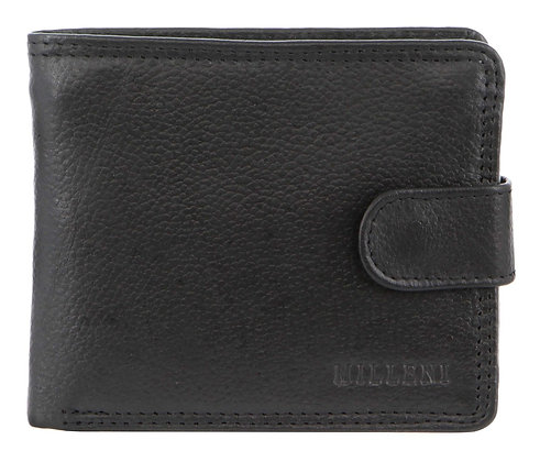 Milleni - Leather Mens Tab Wallet - Black