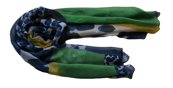 Im Gorgeous - Blue/Green/Yellow Patterned Scarf - Mediumweight