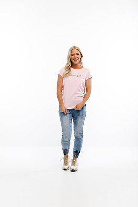 Home-lee Tee Pink with Red Logo