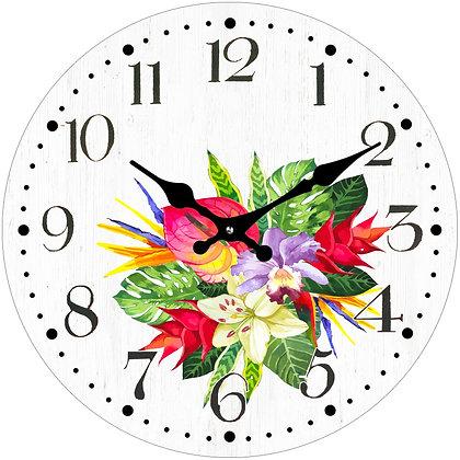 Clock Flower - 17cm Round Glass