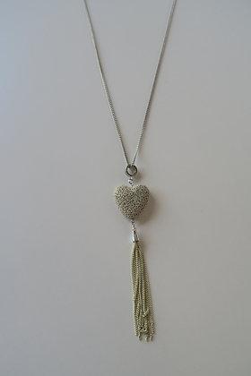 NSBG - Heart Tassel Necklace - Silver/Grey