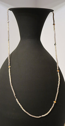 Stilen - Small Bead Necklace - Grey and Silver