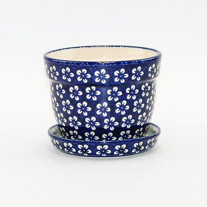 Planter with Saucer - Flowers Blue