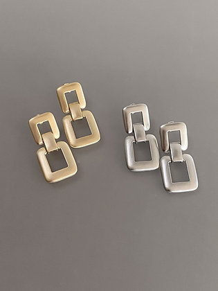 Lilio Earrings - Double Square - Gold or Silver