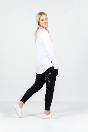 Apartment Pant Black with White Outline