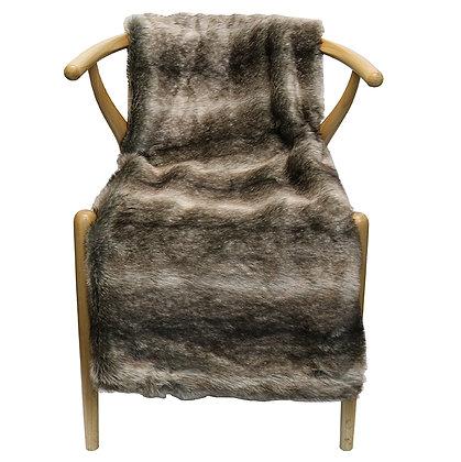 Faux Fur Throw Black Stripe