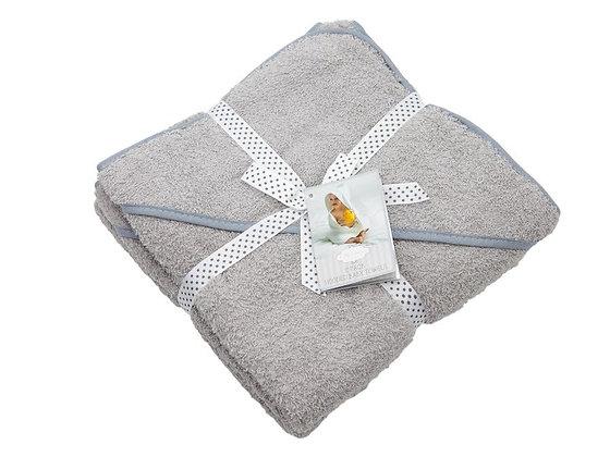 HOODED BABY TOWEL 2 PACK GREY