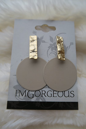I'm Gorgeous - Lunar Drop Disk Earrings - Gold & Fawn