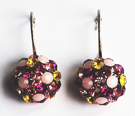 Im Gorgeous Crystal Drop Earrings - Fucshia Sunflower