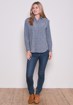 Brakeburn Embroidered Cord Shirt Blue