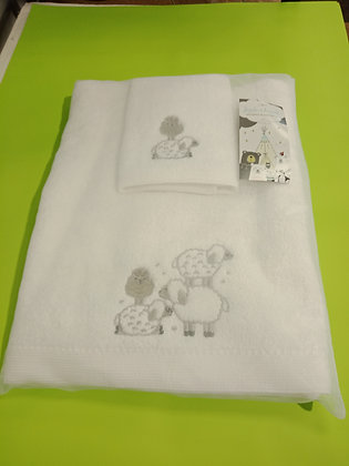 Kids Bath Towel/Face  Washer Set Sheep