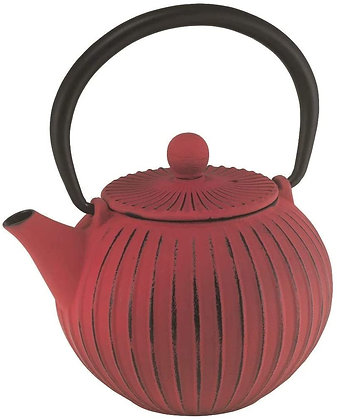 Castiron Teapot Ribbed Red 500ml