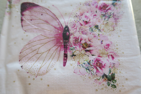 ppd - paper napkin - Butterfly Flowers