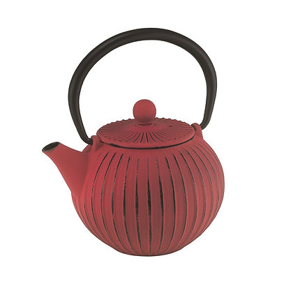 Avanti Ribbed Red Cast Iron Teapot