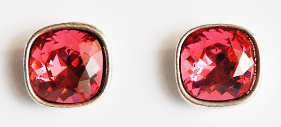 I'm Gorgeous Crystal Earrings Rhodium and Indian Pink