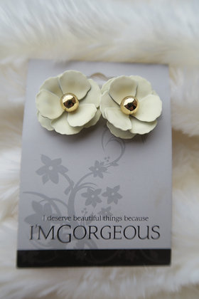 I'm Gorgeous - Flower Earrings - Lemon & Gold