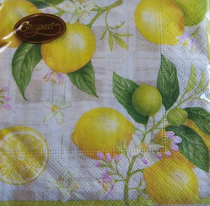 Caspari - lemon paper cocktail napkin