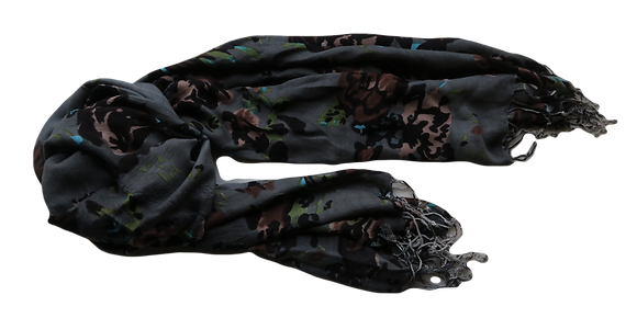 Im Gorgeous - Deep Grey Flower Scarf - Mediumweight