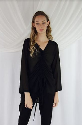 Jaclyn M Rouched Front Blouse Black
