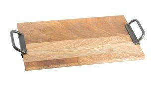 Wooden Tray Rectangle with Metal Handles