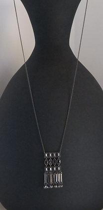 Gunmetal Rectangular Drop Necklace