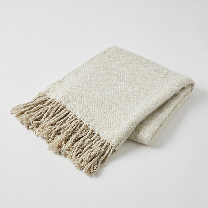 Pilbeam Herringbone Throw Oatmeal