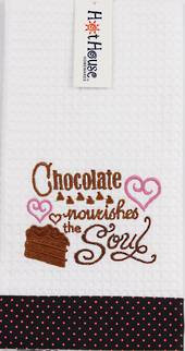 "Hot House - Novelty ""Chocolate Nourishes the Soul"" Tea Towel"