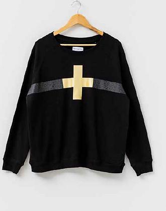 Stella+Gemma Sweater Black Leopard Stripe