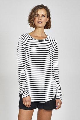 Ketz-ke Skinny Stripe Slouch White Navy Stripe