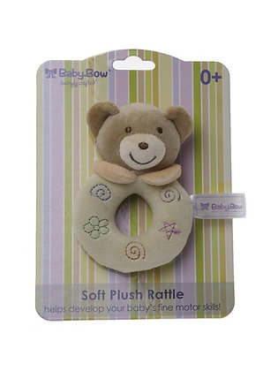 Baby Bow Bear Rattle Yellow