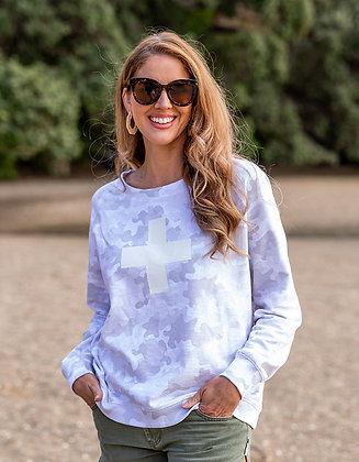 Stella +Gemma Sweater Grey Camo with White Cross