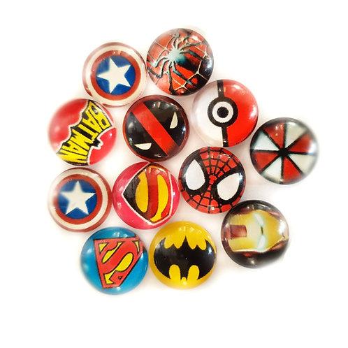 Boy Gemz x10 Super Hero designs (12mm)